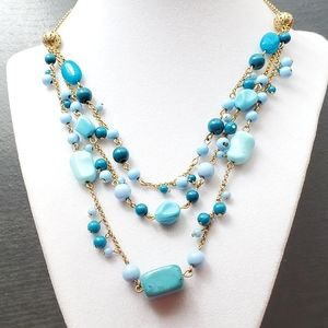 Vintage Avon Turquoise Blue Layered Necklace